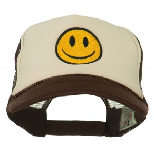 Embroidered Cap - Brown Tan Smiley Face Embroidered Foam Cap | Coupon Free | e4Hats.com
