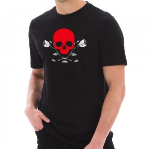 Graphic Shirt - Black Skull and Dead Roses Graphic T-Shirt | Coupon Free | e4Hats.com