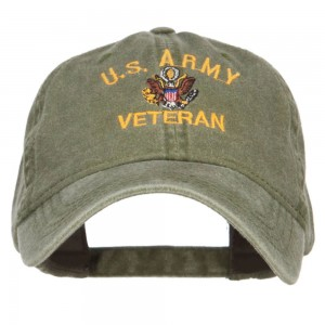 Embroidered Cap - Olive US Army Veteran Embroidered Cap