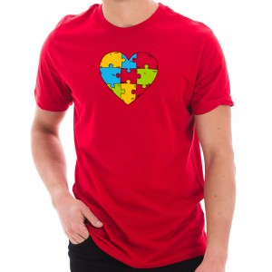 Graphic Shirt - Red Autism Heart Puzzle Graphic T-Shirt | Coupon Free | e4Hats.com