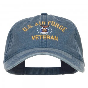 Embroidered Cap - Navy US Air Force Veteran Washed Cap | Coupon Free | e4Hats.com