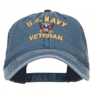 Embroidered Cap - Navy US Navy Veteran Washed Cap | Coupon Free | e4Hats.com