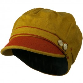 Women's 2 Tone Wool Poly Blend Newsboy Cap - Yellow Orange