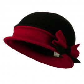 2 Toned Boiled Wool Bucket Hat with Bow Detail