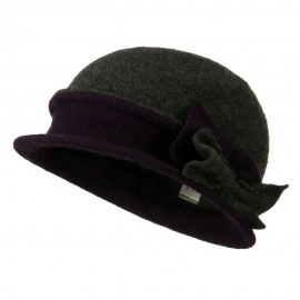 2 Toned Boiled Wool Bucket Hat with Bow Detail - Dark Grey Purple