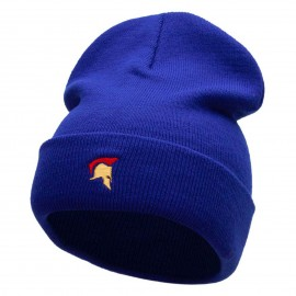 The Trojan Helmet Embroidered 12 Inch Long Knitted Beanie