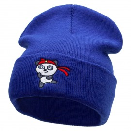 Karate Panda Embroidered 12 Inch Long Knitted Beanie
