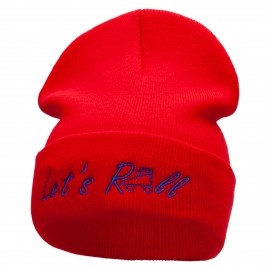 Let's Roll Embroidered 12 Inch Long Knitted Beanie