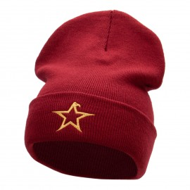 The Eagle Star Embroidered 12 Inch Long Knitted Beanie