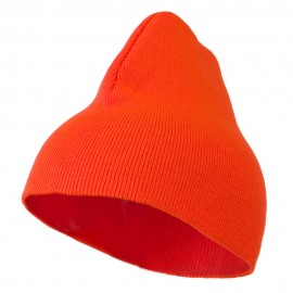 8 inch Acrylic Short Blank Beanie - Orange