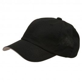6 Panel Athletic Mesh Cap-Black