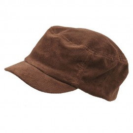 Corduroy Fitted Engineer Cap-Brown
