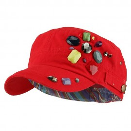 Scattered Colored Gem Cap - Red
