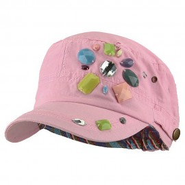 Scattered Colored Gem Cap - Pink