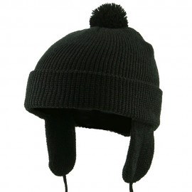 Toddler Beanie Hat with Ear Flaps - Black