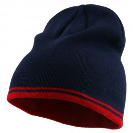 Acrylic Cotton Striped Knit Beanie-Navy Red