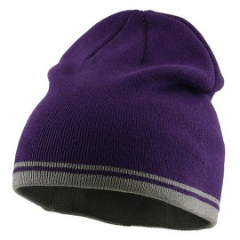 Acrylic Cotton Striped Knit Beanie-Purple Grey