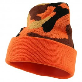 Camo Cuff Knit Cap - Orange Camo