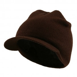 Cuffless Beanie Sports Visor-Brown