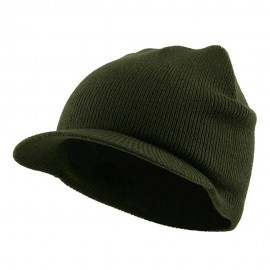 Cuffless Beanie Sports Visor-Olive