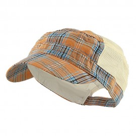 Fashion Plaid Mesh Army Cap