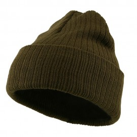 Acrylic Ribbed Cuff Beanie - Olive