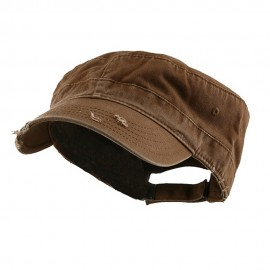 Enzyme Frayed Solid Army Caps-Brown