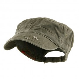 Enzyme Frayed Solid Army Caps-Olive