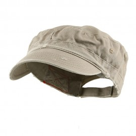 Enzyme Frayed Solid Army Caps-Khaki