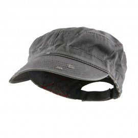 Enzyme Frayed Solid Army Caps-Grey