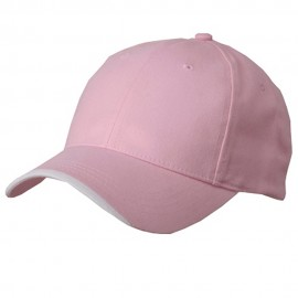 Deluxe Brushed Cotton Twill Cap-Pink White