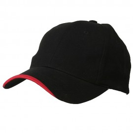Deluxe Brushed Cotton Twill Cap-Black Red