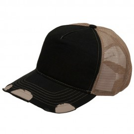 Frayed Trucker Cap-Black Khaki