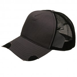 Frayed Trucker Cap-Grey Black