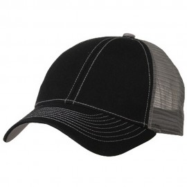 Low Profile Structured Trucker Cap-Black Grey