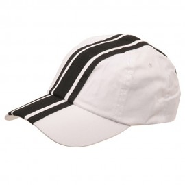 Racing Stripe Cotton Twill Cap-White Black