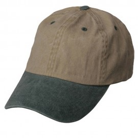 Pigment Dyed Wash Caps-Khaki-Green