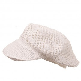 Crocheted Newsboy Hats(01)-White