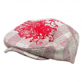 Flower Checkered Ivy Hat-Pink