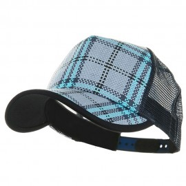 Plaid Straw Trucker Caps-Blue