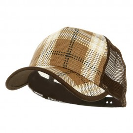 Plaid Straw Trucker Caps-Brown