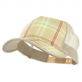 Plaid Straw Trucker Caps-Natural