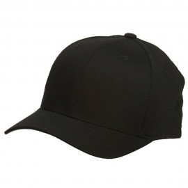 Wooly Combed Twill Flexfit Cap-Black