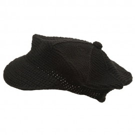 Crocheted Newsboy Hats(02)-Black
