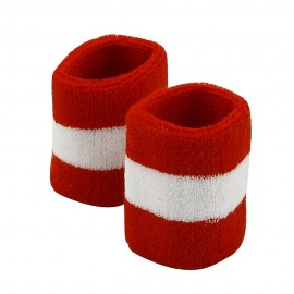 Terry Stripe Wristband Pair-Red White