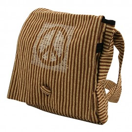 Brown Cotton Stripe Peace Messenger Bag