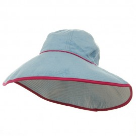 UV Ladies Reversible Terry Cloth Wide Brim Hat - Lt Blue White