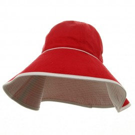 UV Ladies Reversible Terry Cloth Wide Brim Hat - Red White