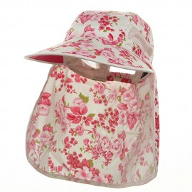 Ladies Wide Brim Detachable Flap Cap - Fuchsia