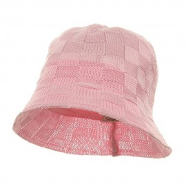 Mesh Checker Bucket Hats-Pink